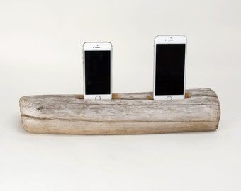 Docking Station for 2 iPhones, iPhone dock, iPhone Charger, iPhone Charging Station, driftwood dock, wood iPhone dock/ Driftwood-No. 755