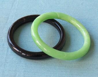 Set of 2 | Glass Bangle Bracelets | Green and Black | Vintage