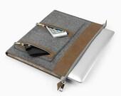 "Custom size Felt Laptop bag for 11"" 13'' 15"" Macbook Air Case Macbook 13'' Retina Pro Laptop Computer Leather Fashion Bag with zipper E2414"