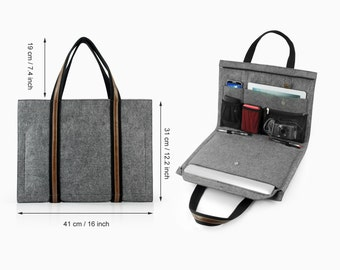 "Multi-function Laptop Bag 11"" 13'' Felt Macbook Air Retina Pro Macbook Sleeve Macbook Case Fashion Special Leather Briefcase Portfolio E2435"