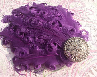 50% OFF SALE Purple Hair Clip, Nagorie Feathers, Flapper, Bridal, Vintage Inspired
