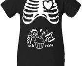 Halloween X-ray Rib Cage Candy Corn Lollipop Caramel Apple Cupcake Infant One Piece Bodysuit To Match Our Maternity Tee Baby Boy Girl Unisex