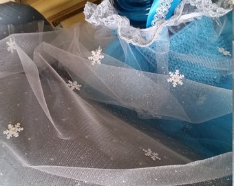 Frozen Tulle with small Snowflakes  Cape for your Elsa Costume