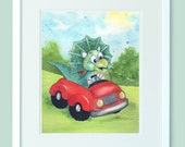 8x10 Print of cute dino in a red car