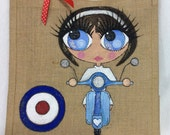 Handpainted Personalised Mod Girl on Vespa Style Glamorous Vintage Pin Up Girl Jute Handbag Gift Bag Hen Party Celebrity Style