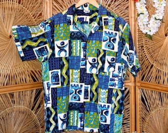 Tiki time Hawaiian Aloha shirt.  Hawaiian Surf...Made in Hawaii  Size Large