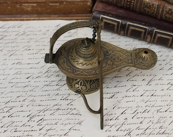 Vintage Brass Incense Burner, Genie Lamp, Brass Lantern,Antique Incense Burner