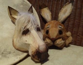 Printable masks, DIY Halloween masks, Make your own Horse Mask, Rabbit Mask, Animal masks, Templates, Low Poly