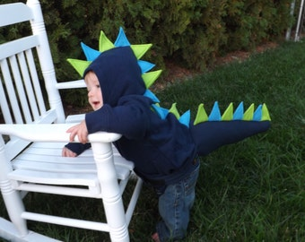 Infant Dinosaur Hoodie Sweatshirt & Mini Tail Halloween Costume Birthday Gift Outfit Dragon