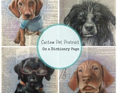 Custom Pet Portrait on a Dictionary Page