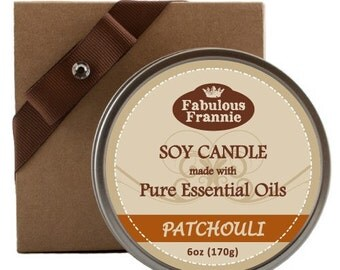 Patchouli 100% Pure & Natural Soy Candle 6 oz - Gift Set