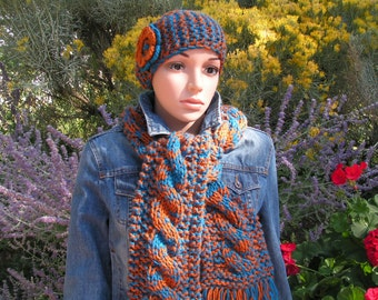 Classic Cable Knit Scarf / Headband Sapphire and Rust