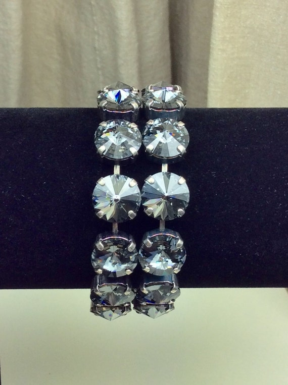 Swarovski Crystal 12MM Double Row Silver Night Bracelet   - Designer Inspired -  Silvery Night -  Stunning &  Classy - FREE SHIPPING