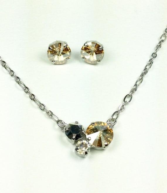 "Swarovski Crystal 12MM/8.5mm/6mm Necklace - "" Blonde Neutrals"" Colors   Petite & Feminine Cluster Pendant  Designer Inspired - FREE SHIPPING"