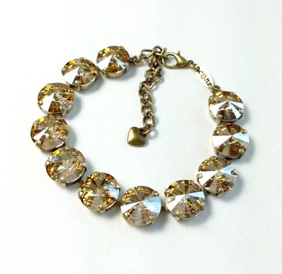 Swarovski Crystal 12MM Bracelet   - Designer Inspired - Beautiful & Radiant Golden Shadow - FREE SHIPPING