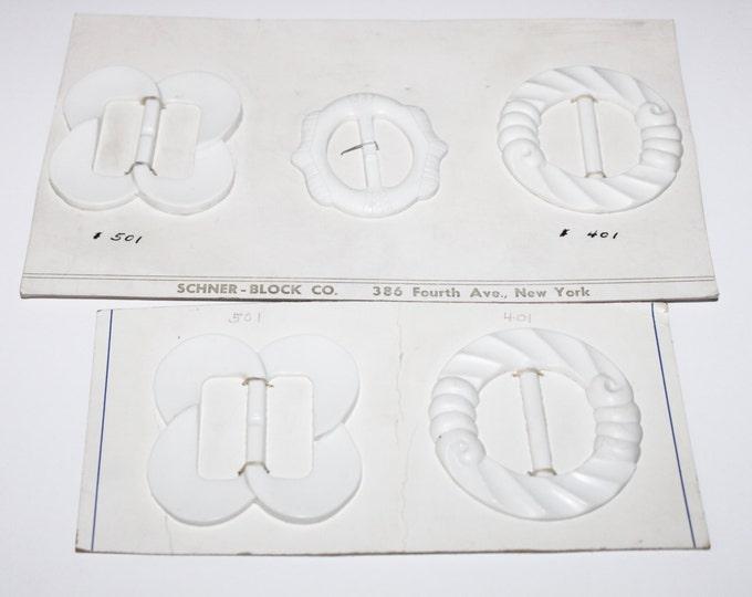 Five Vintage 1960s Style White Art Deco Buckles / Scarf Slides