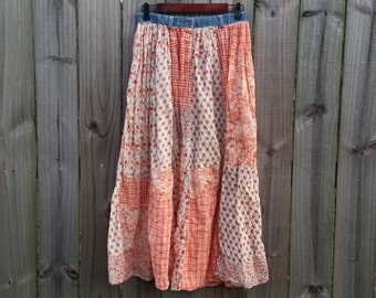 M Medium Vintage 80s Floral Checkered Paisley Patchwork Style Print Boho Festival Hippie Summer Semi-Sheer Made in India Cotton Maxi Skirt
