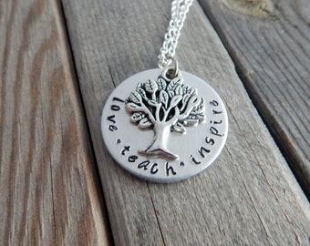 love teach inspire Hand Stamped Teacher Necklace with Tree Charm - Teacher Appreciation - Inspirational Gift - kg1963