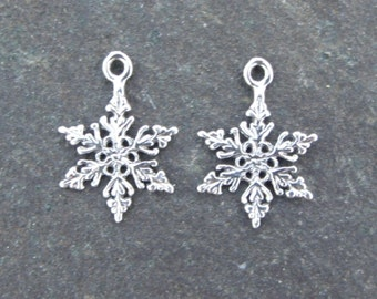 1 Pair of Sterling Silver Snowflake Charms - 19x14mm