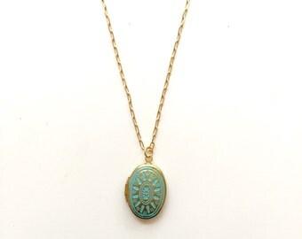 Small Patina Brass Locket Necklace // Bridesmaid Locket
