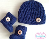 Baby Boy, Baby Boy Hat and Booties set, Baby Beanie, Baby Booties, Baby Boy Outfit, Navy Baby Hat, Gray Booties