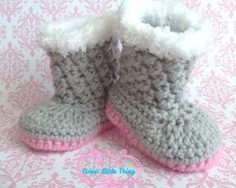 Baby Girl Boots, Crochet Baby Girl Booties, Newborn Booties, Crocheted Booties, Gray Booties with Pink sole, Baby shoes, Baby Shower, UGG