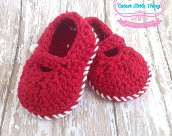 Red Shoes, Baby Shoes, Baby Girl, Baby Booties, Christmas Booties, Christmas Shoes, Crochet Booties, Crochet Shoes, Red Booties, Girl Shoes
