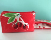 "NEW Red Cherries and Polka Dot Oilcloth Coin Purse Zipper Pouch Wetbag Cosmetic Bag 3.5"" x 5.5"""