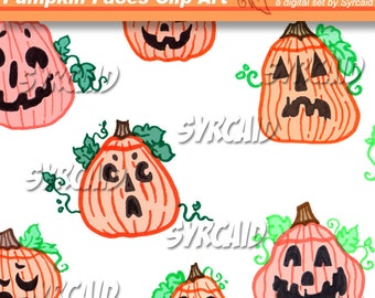 Pumpkin Faces Clip Art Set