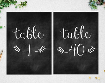 Table Numbers (1-40) // INSTANT DOWNLOAD // 5x7 // 4x6 // Chalkboard // DIY // Printable