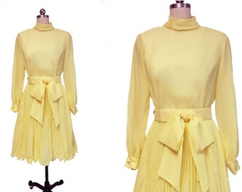 Vintage 50s 60s Pleated Party Dress with Bow belt in Lemonade 50s dress yellow dress