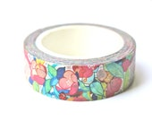 Floral Washi Tape - Garden Washi Tape - Designer Washi Tape - Floral Masking Tape - 10 meters