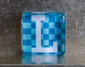 1.5-inch Square Glass Super Strong Magnet with Custom L Initial Monogram Blue Checkered Pattern