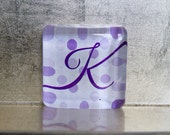 1.5-inch Square Glass Super Strong Magnet with Custom K Initial Monogram Purple Polka Dots