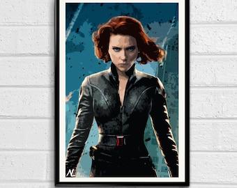 Black Widow Marvel Avengers Illustration 2, Film, Movie, Pop Art, Home Decor, Superhero Poster, Comic Book Print Canvas