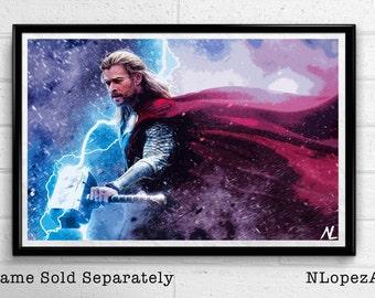 Thor Marvel Avengers Illustration, Film, Movie, Pop Art, Superhero Poster, Comic Book Print Canvas