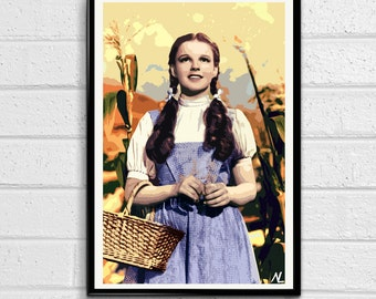 Dorothy from Wizard of Oz Illustration, Film, Movie, Pop Art, Home Decor, Poster, Print Canvas