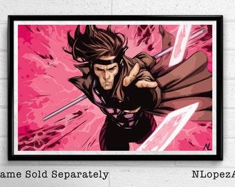 Gambit Xmen Comic Book Superhero Pop Art Poster Print Canvas
