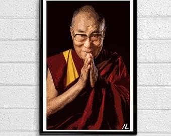 His Holiness the 14th Dalai Lama Celebrity Portrait Illustration, Buddhist Pop Art, Tibet Home Decor, Monk Poster, Print Canvas