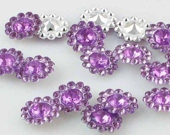 Purple Flower Embellishment for Scrapbooking,Layouts,Mini Albums,Altered Art,Craft Projects,Hairbows,Flower Centers