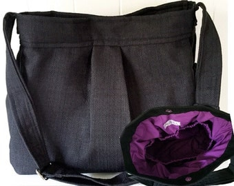 CHOOSE  your Lining Black Linen Look Diaper Bag with Purple Lining