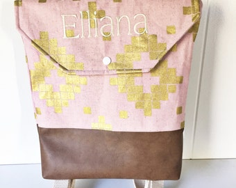 EMBROIDERED Toddler Backpack Pink and Tile
