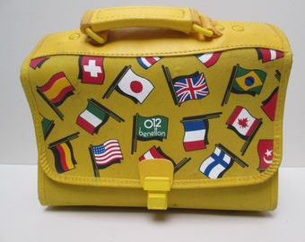 vintage, BENETON travel bag purse lunchbox day bag handle tote in yellow with world flag motif