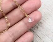 Herkimer Diamond Necklace, Gold Necklace, Tiny Diamond Necklace