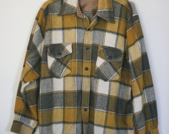 vintage wool blend plaid shirt mens size large by bud berma