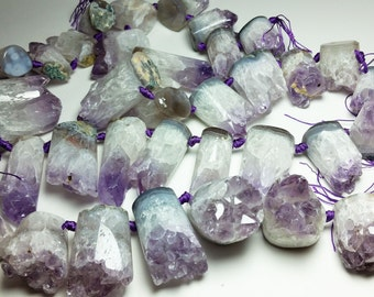 Amethyst Druzy Crystal Cluster Geode Pendent Coin Cylinder Beads 20mm - 30mm x 25mm - 54mm Mix Sizes