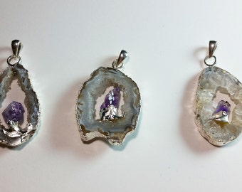 Gray Lace Agate Sterling Silver Edged Agate Druzy Slice Geode Amethyst Crystal Nugget Pendant