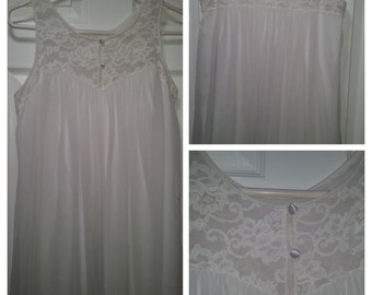 Vintage Night Gown by Komar, 1960's Pure White Sheer and Lace, Sexy, Wedding, Romantic Honeymoon, Lingerie