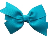 3 inch turquoise hair bow - turquoise bow, 3 inch bows, pinwheel bow, girls hair bows, toddler bows, baby bows, hair clips, girls bows