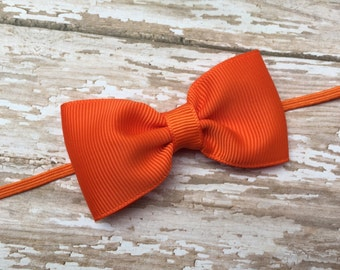 Orange bow headband - orange baby headband, baby headband, newborn headband,  infant headband, girls headbands, baby girl headbands